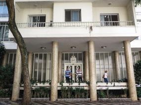 Entrada del Edificio Piaui, proyectado por Artacho Jurado e inaugurado en 1949.